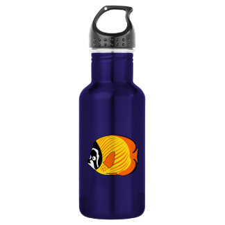Vibrant and Colorful Cartoon Butterfly Fish 18oz Water Bottle