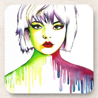 Vibrant and Colourful portrait art Coasters