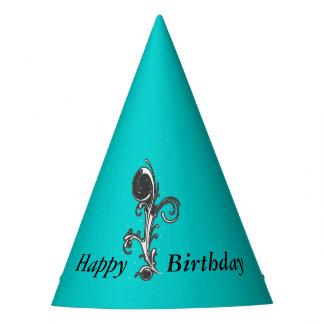 Vibrant Aqua Blue Fancy Birthday Scroll Party Hat