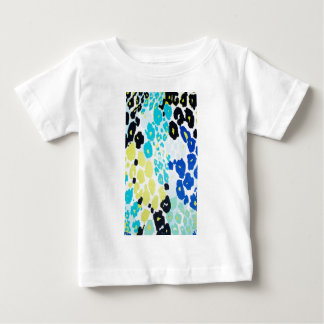 Vibrant Aqua Blue Lime Leopard Print Baby T-Shirt