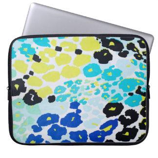 Vibrant Aqua Blue Lime Leopard Print Laptop Sleeves
