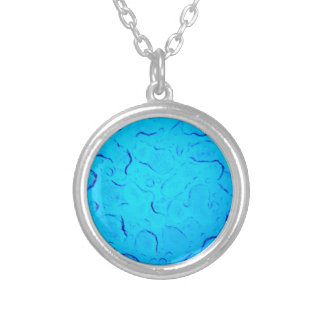 Vibrant Aquamarine Turquoise Rain on glass Silver Plated Necklace