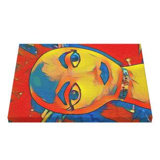 Vibrant Artistic Contemporary Mannequin Face Canvas Print