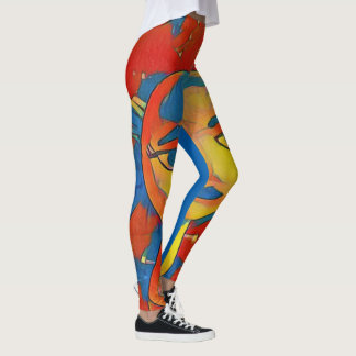 Vibrant Artistic Contemporary Mannequin Face Leggings