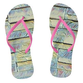 Vibrant Artistic Pastel Colored Bricks Flip Flops