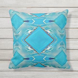 Vibrant Artistic Turquoise Diamond Shaped Pattern Throw Pillow