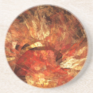 Vibrant Autumn Abstract Digital Fractal Coaster