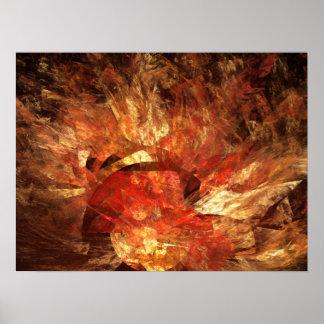 Vibrant Autumn Abstract Digital Fractal Poster