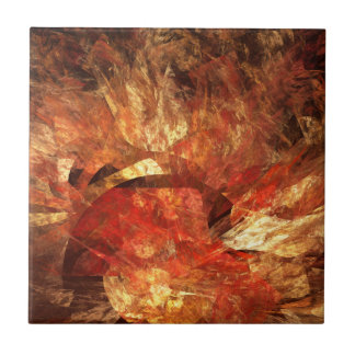 Vibrant Autumn Abstract Digital Fractal Tile