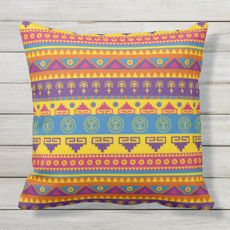 Vibrant Aztec Pattern Outdoor Pillow