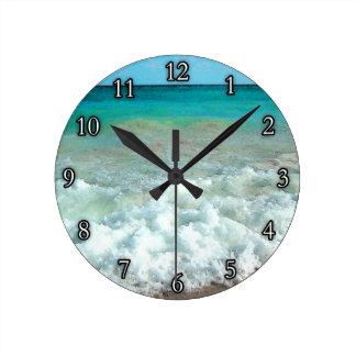 Vibrant Beach Watercolor Scene Round Clock