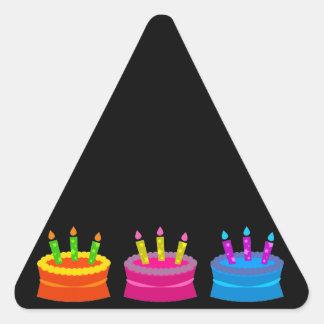 Vibrant Birthday Cakes Triangle Sticker