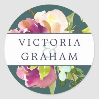 Vibrant Bloom Personalized Wedding Round Sticker