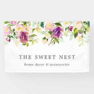Vibrant Bloom | Watercolor Floral Business Name Banner