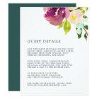Vibrant Bloom Wedding Guest Details Card
