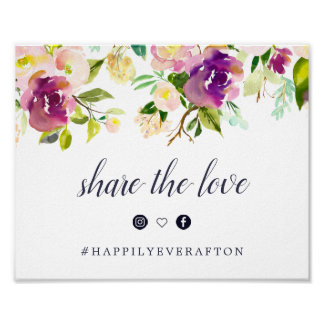 Vibrant Bloom Wedding Hashtag Sign