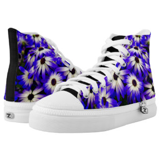 Vibrant Blue and White Daisy Flower Print Srping High Tops
