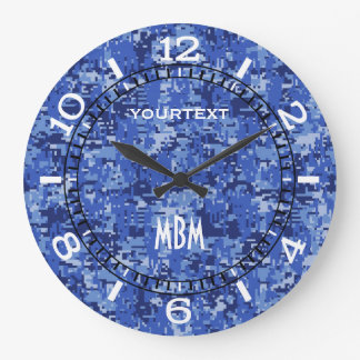 Vibrant Blue Digital Camo Camouflage Dial on a Large Clock
