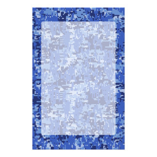 Vibrant Blue Digital Camo Camouflage Texture Stationery