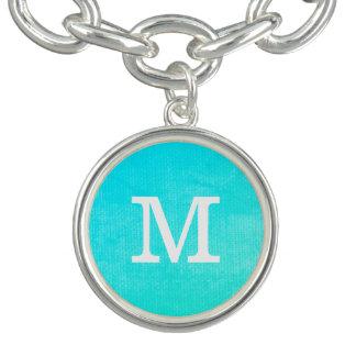 VIbrant Blue Grunge with Monogram Charm Bracelet