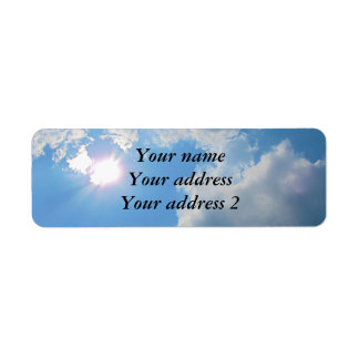 Vibrant blue sky with sun and clouds photo return address label