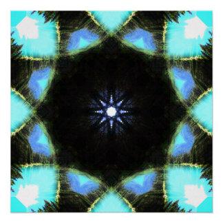 Vibrant Blue Star Mandala Poster