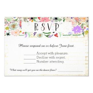 Vibrant Botanical Water Color Wedding RSVP Card