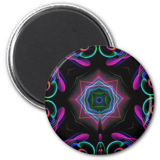 Vibrant Bright Colorful Neon Abstract 2 Inch Round Magnet