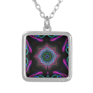 Vibrant Bright Colorful Neon Abstract Silver Plated Necklace