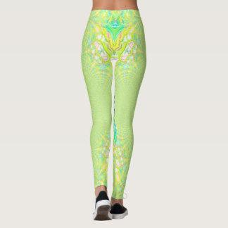 Vibrant Bright Lemon Lime Pastel Kaleidoscope Leggings