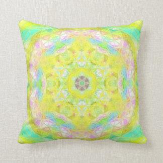 Vibrant Bright Lemon Lime Pastel Kaleidoscope Throw Pillow
