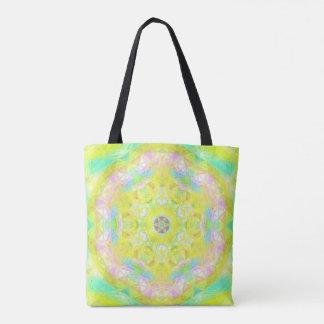 Vibrant Bright Lemon Lime Pastel Kaleidoscope Tote Bag