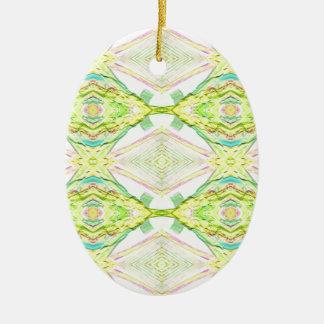 Vibrant Bright Lemon Lime Pastel Tribal Ceramic Oval Ornament