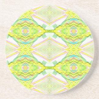 Vibrant Bright Lemon Lime Pastel Tribal Coaster