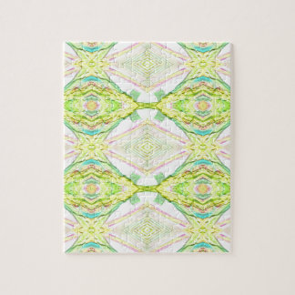Vibrant Bright Lemon Lime Pastel Tribal Jigsaw Puzzle