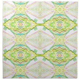 Vibrant Bright Lemon Lime Pastel Tribal Napkin