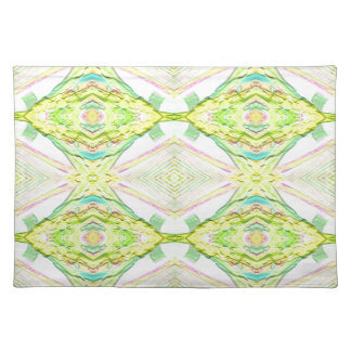 Vibrant Bright Lemon Lime Pastel Tribal Placemat