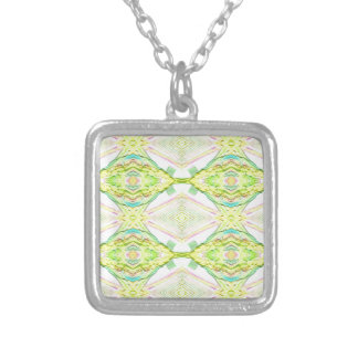 Vibrant Bright Lemon Lime Pastel Tribal Silver Plated Necklace