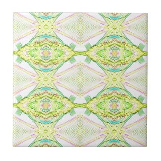 Vibrant Bright Lemon Lime Pastel Tribal Tile