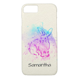 Vibrant Bunny Rabbit to Customize with your Name iPhone 8/7 Case