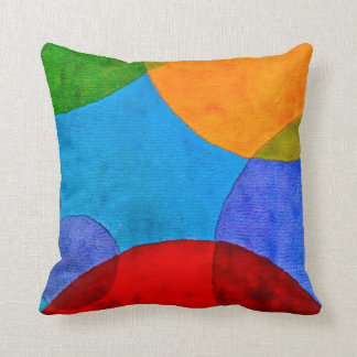 Vibrant Circle Pattern Primary Colors Pillow