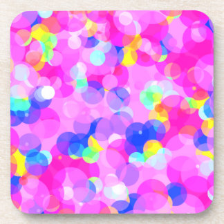Vibrant Circles Candy Pink Multi Colored Pattern Beverage Coasters