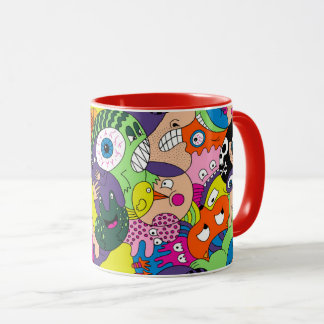 Vibrant color abstract faces mug