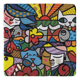 Vibrant color abstract trivet