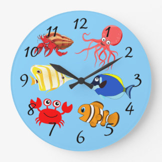 Vibrant color Aquatic life cartoons Large Clock