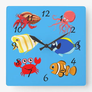Vibrant color Aquatic life cartoons Square Wall Clock