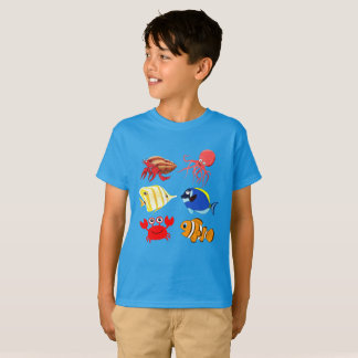 Vibrant color Aquatic life cartoons T-Shirt