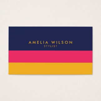 Vibrant Color Block Stylist Social Media Business Card