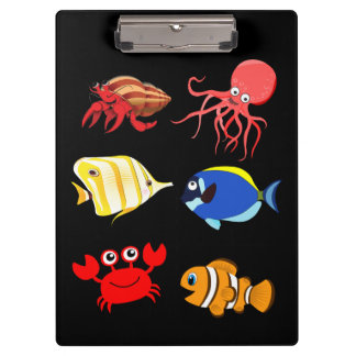 Vibrant color cartoon Aquatic life Clipboard
