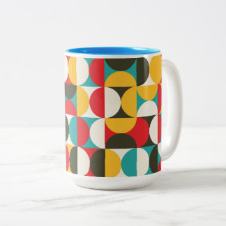 Vibrant color half circles pattern Two-Tone coffee mug